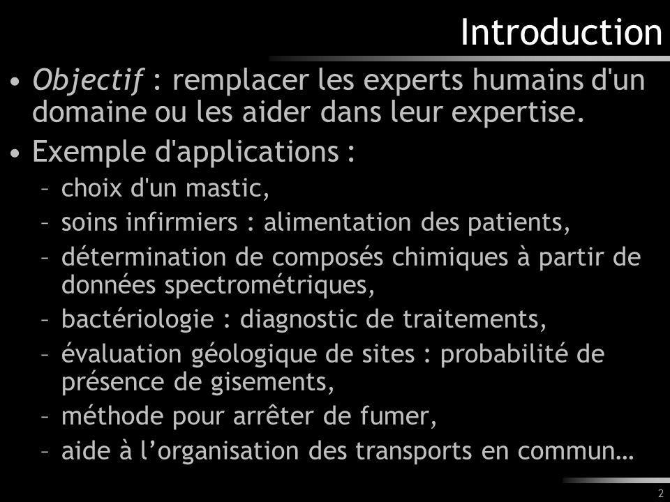 Introduction Objectif : remplacer les experts humains d un domaine ou les aider dans leur expertise.