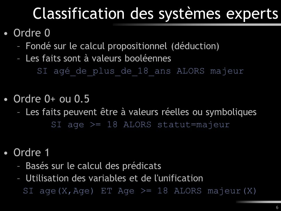 Classification des systèmes experts