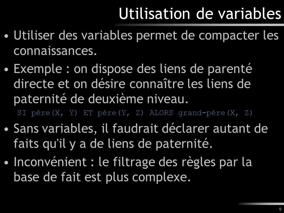 Utilisation de variables