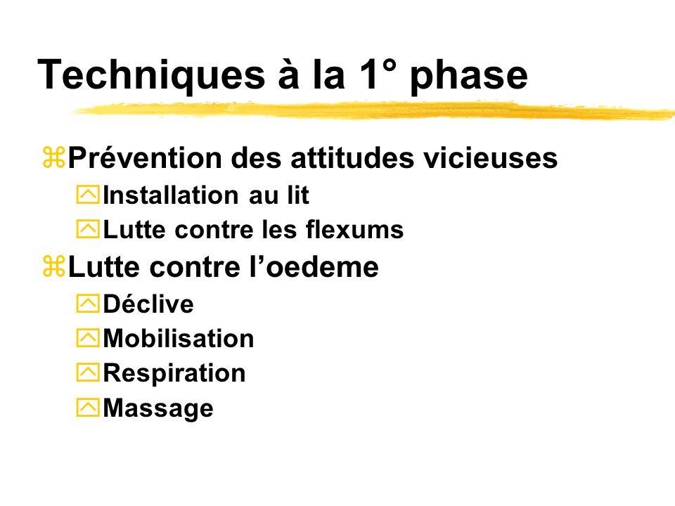 Techniques à la 1° phase Prévention des attitudes vicieuses