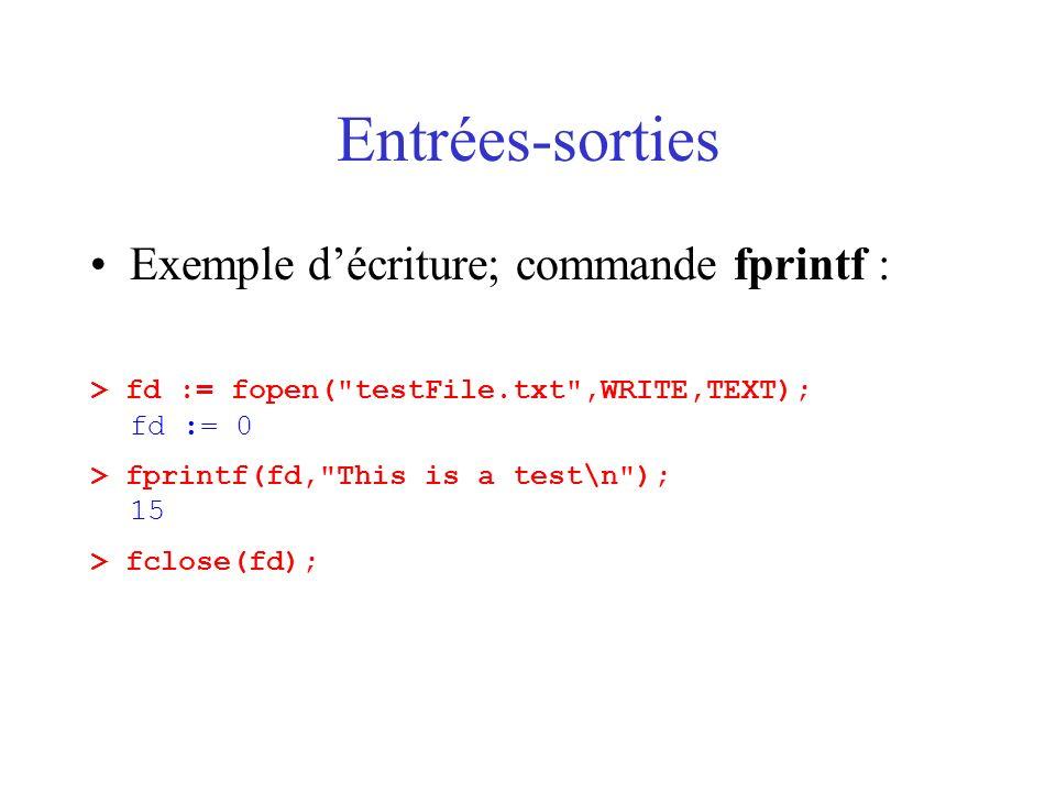 Entrées-sorties Exemple d'écriture; commande fprintf :