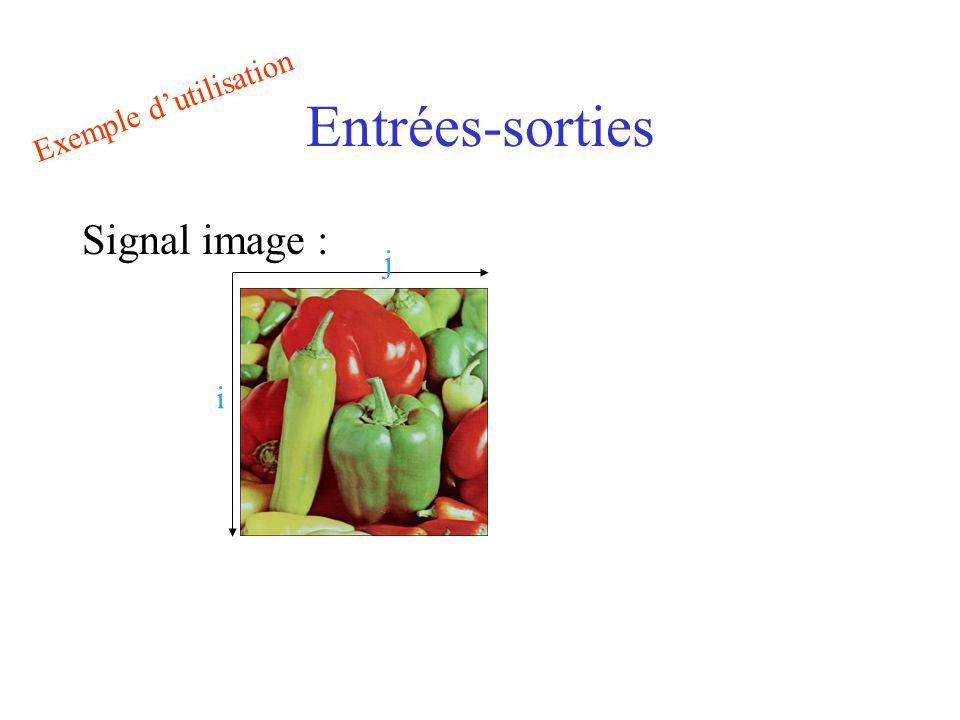 Entrées-sorties Exemple d'utilisation Signal image : j i