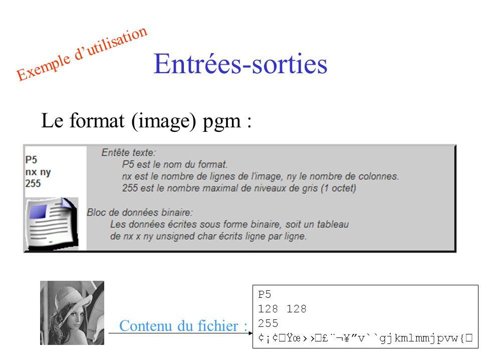 Entrées-sorties Le format (image) pgm : Exemple d'utilisation