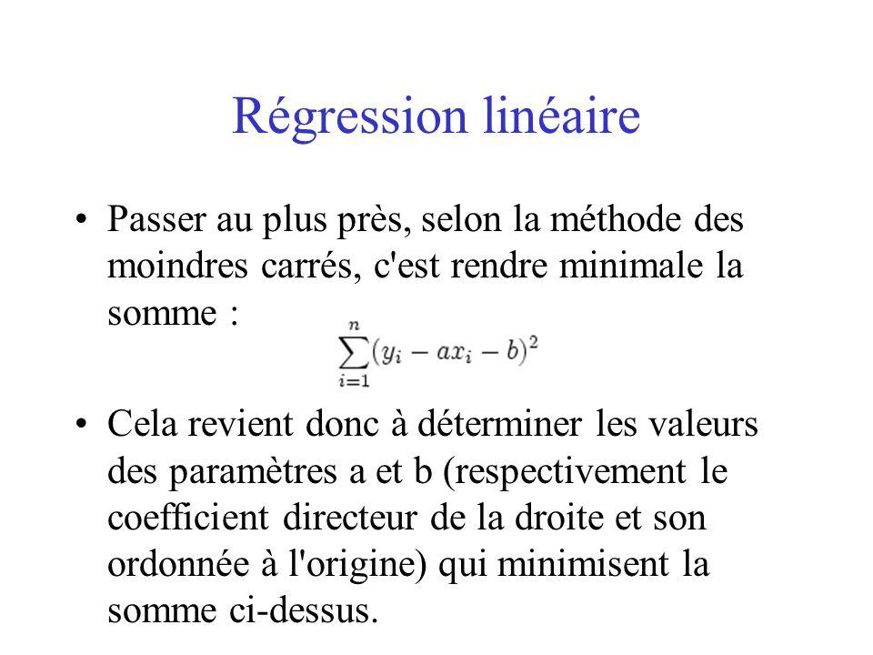 Régression linéaire Passer au plus près, selon la méthode des moindres carrés, c est rendre minimale la somme :