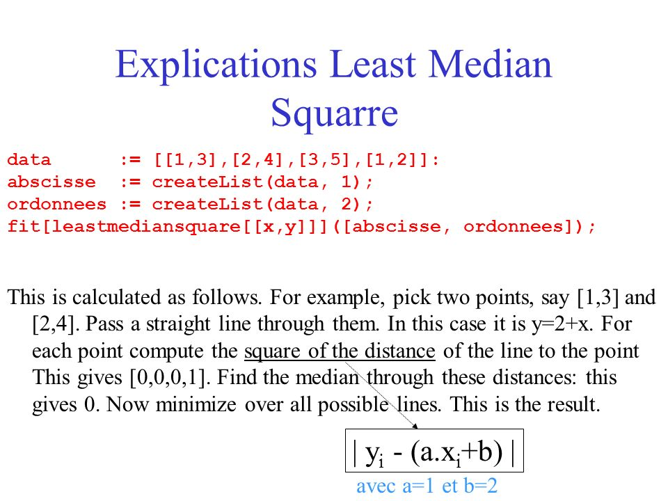 Explications Least Median Squarre