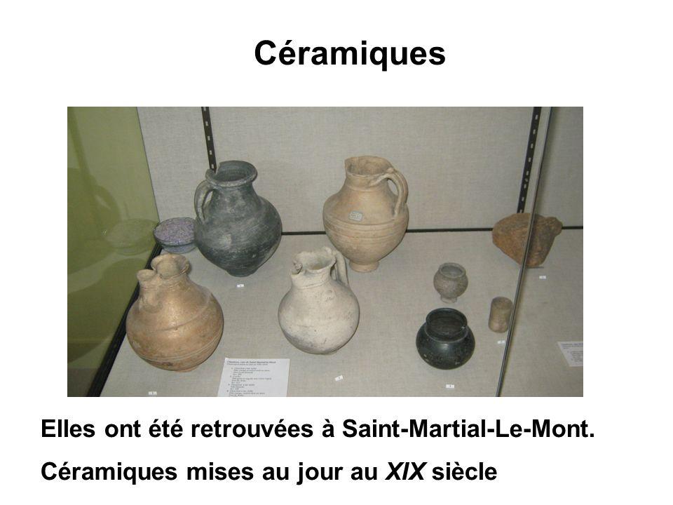 Céramiques Elles ont été retrouvées à Saint-Martial-Le-Mont.