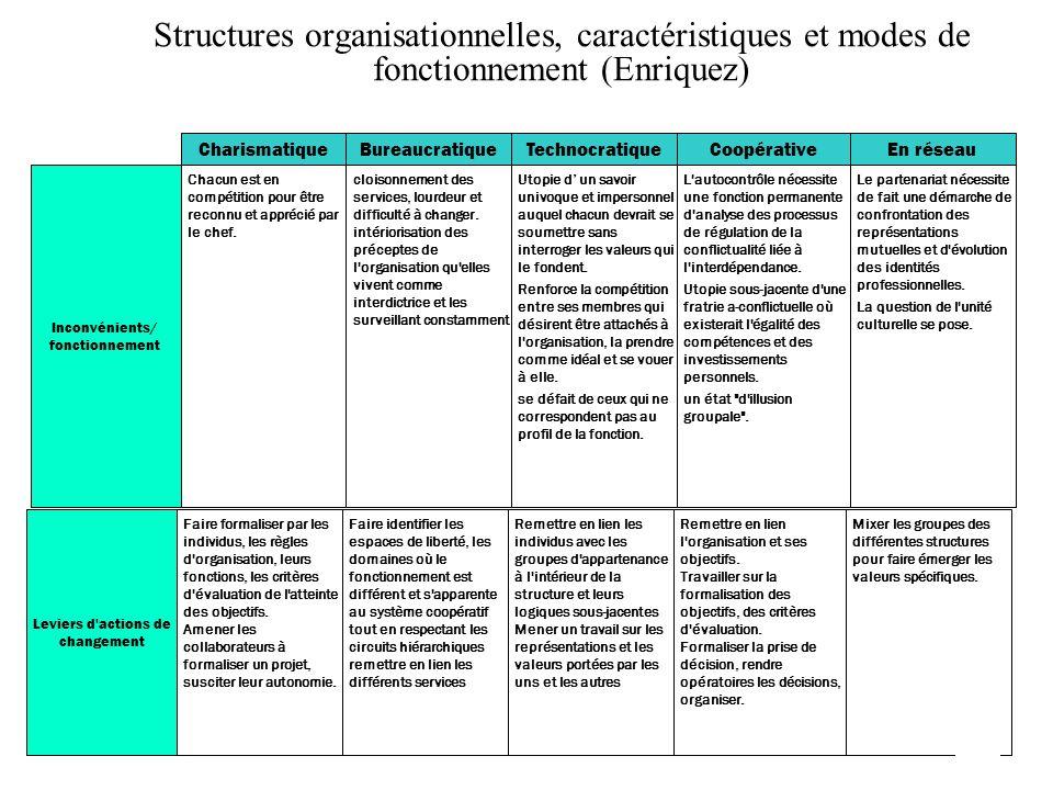 Structures organisationnelles, caractéristiques et modes de fonctionnement (Enriquez)