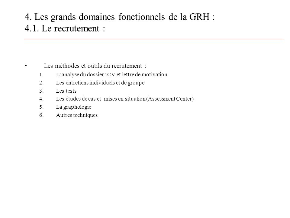 4. Les grands domaines fonctionnels de la GRH : 4.1. Le recrutement :