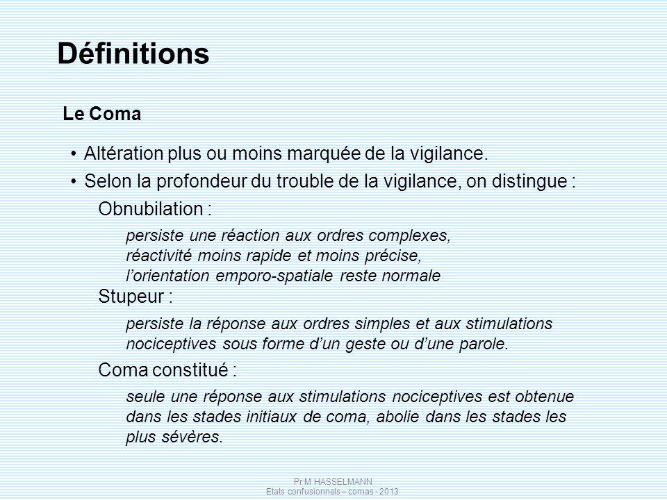 Définitions Le Coma Altération plus ou moins marquée de la vigilance.