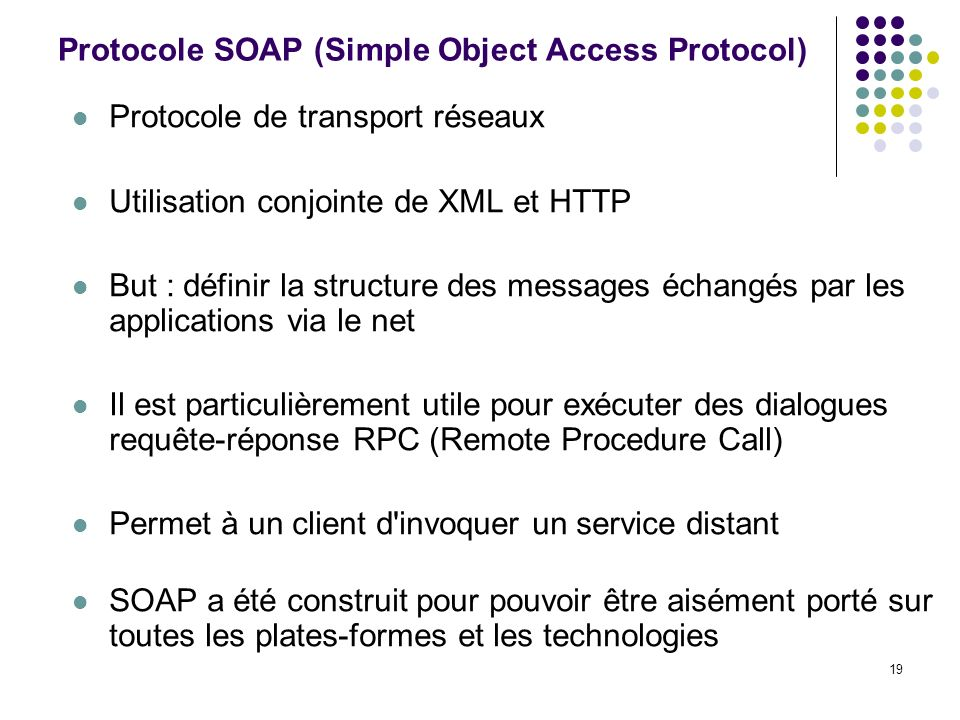 Protocole SOAP (Simple Object Access Protocol)