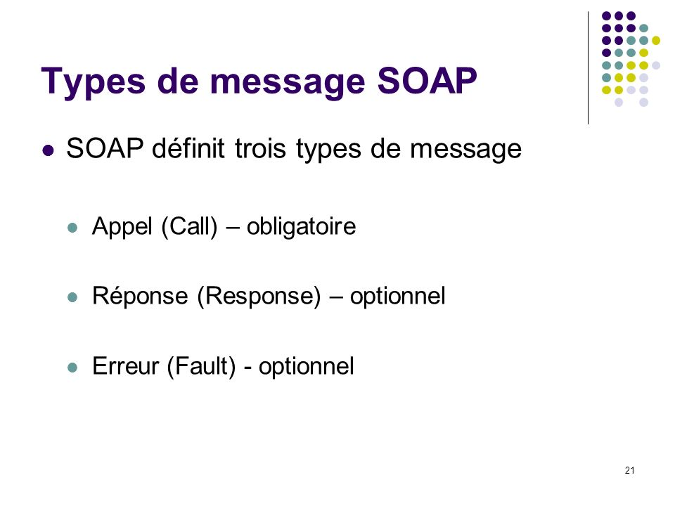 Types de message SOAP SOAP définit trois types de message