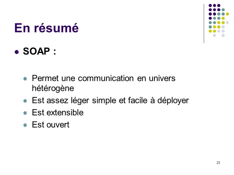 En résumé SOAP : Permet une communication en univers hétérogène
