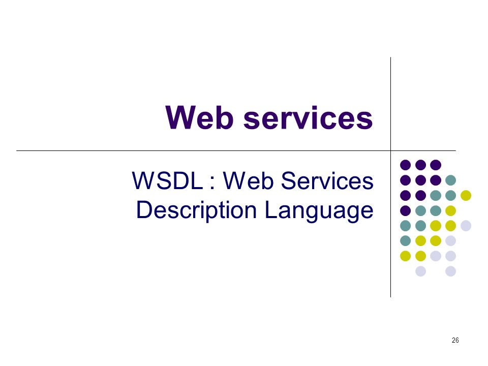 WSDL : Web Services Description Language