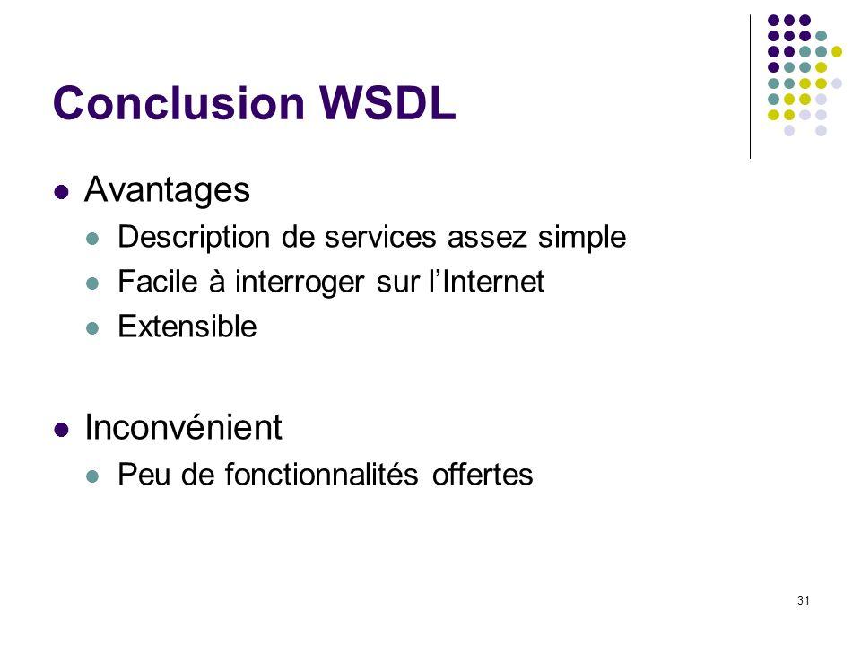 Conclusion WSDL Avantages Inconvénient