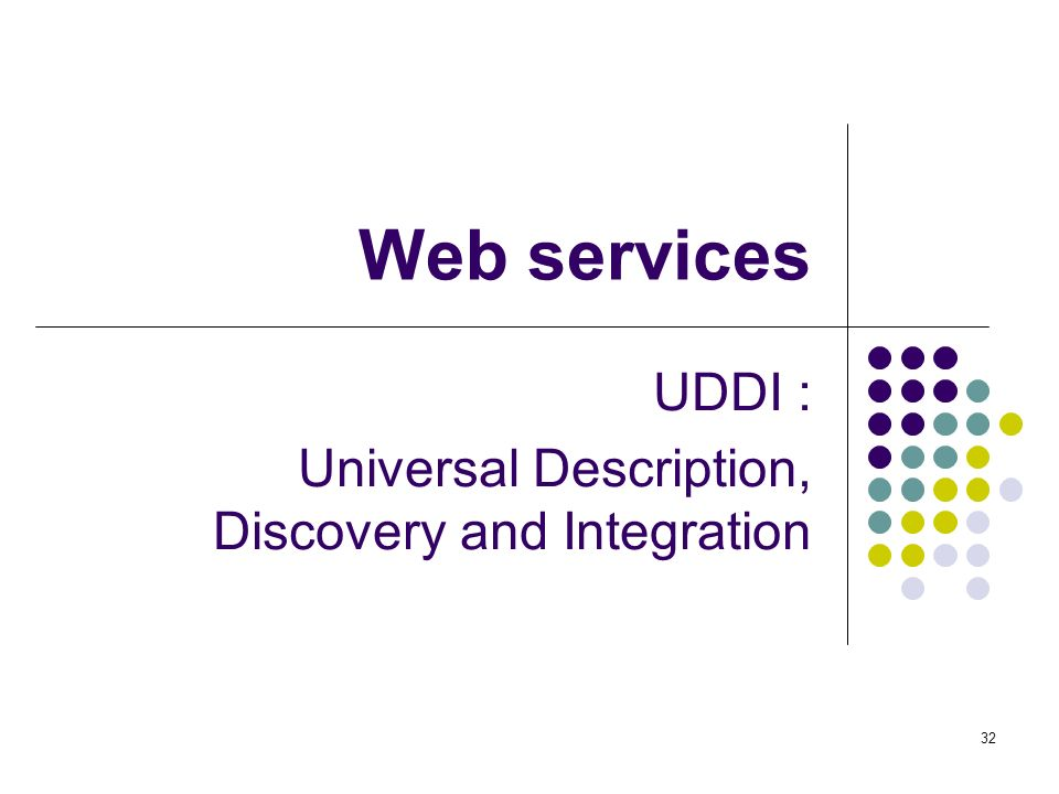 UDDI : Universal Description, Discovery and Integration