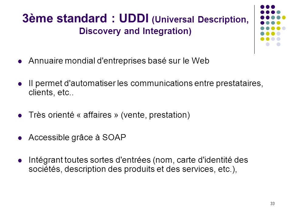 3ème standard : UDDI (Universal Description, Discovery and Integration)