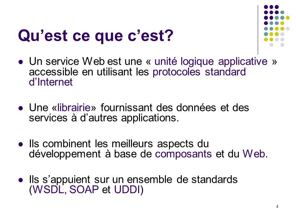 Qu'est ce que c'est Un service Web est une « unité logique applicative » accessible en utilisant les protocoles standard d'Internet.