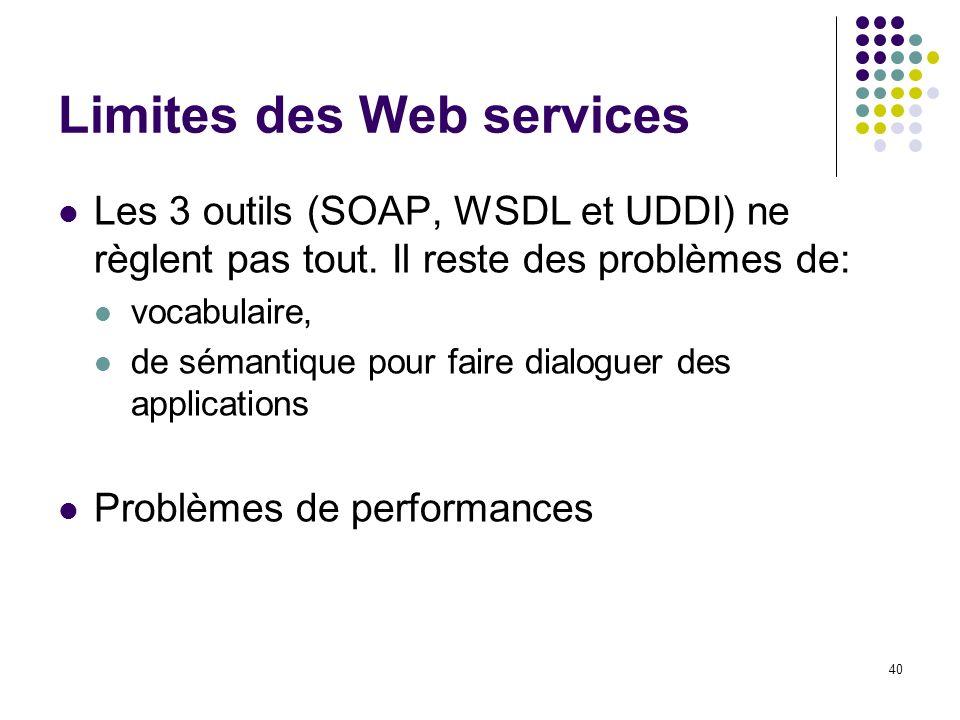 Limites des Web services