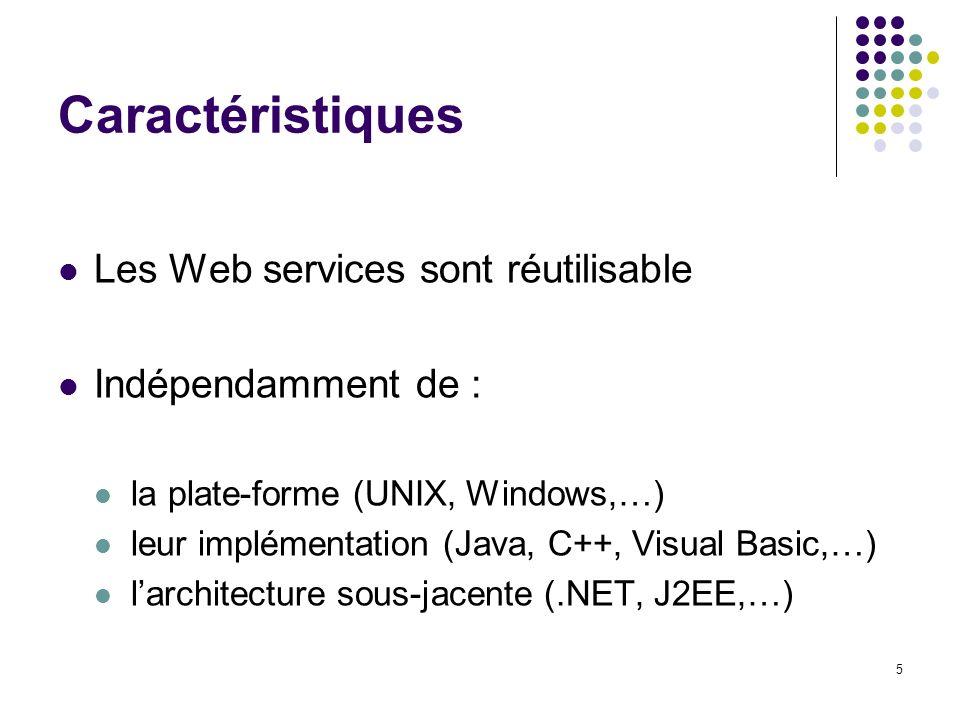 Caractéristiques Les Web services sont réutilisable