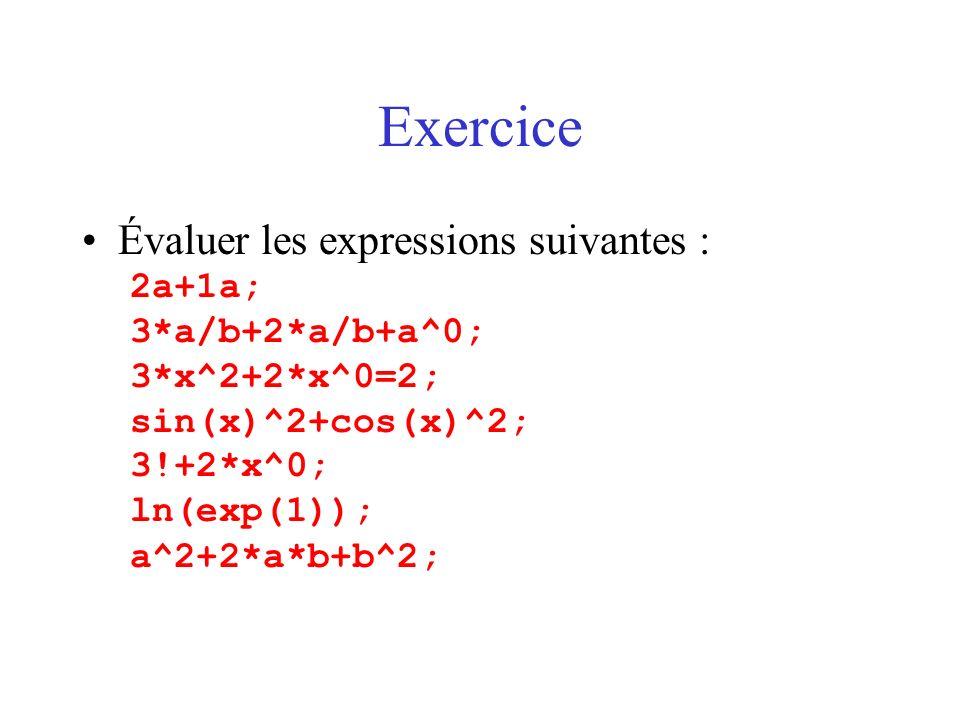 Exercice Évaluer les expressions suivantes : 2a+1a; 3*a/b+2*a/b+a^0;