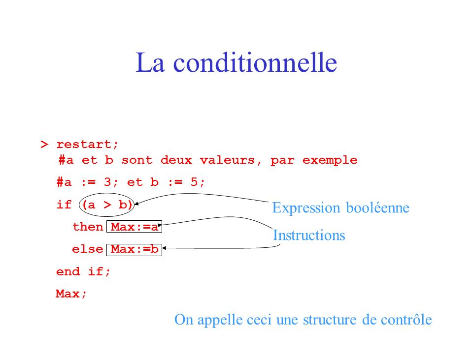 La conditionnelle Expression booléenne Instructions