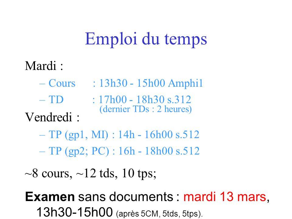 Emploi du temps Mardi : Vendredi : ~8 cours, ~12 tds, 10 tps;