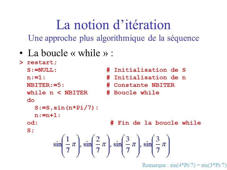 La notion d'itération Une approche plus algorithmique de la séquence