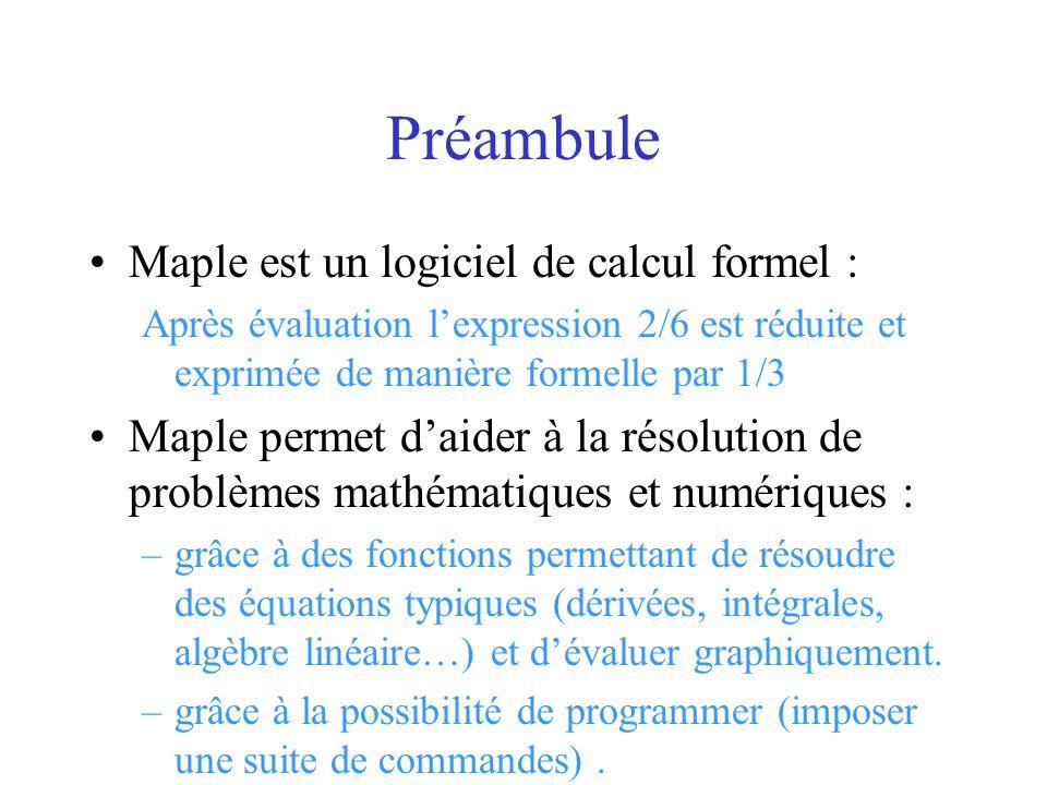 Préambule Maple est un logiciel de calcul formel :