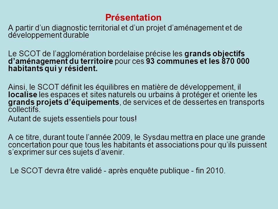 Présentation A partir d'un diagnostic territorial et d'un projet d'aménagement et de développement durable.