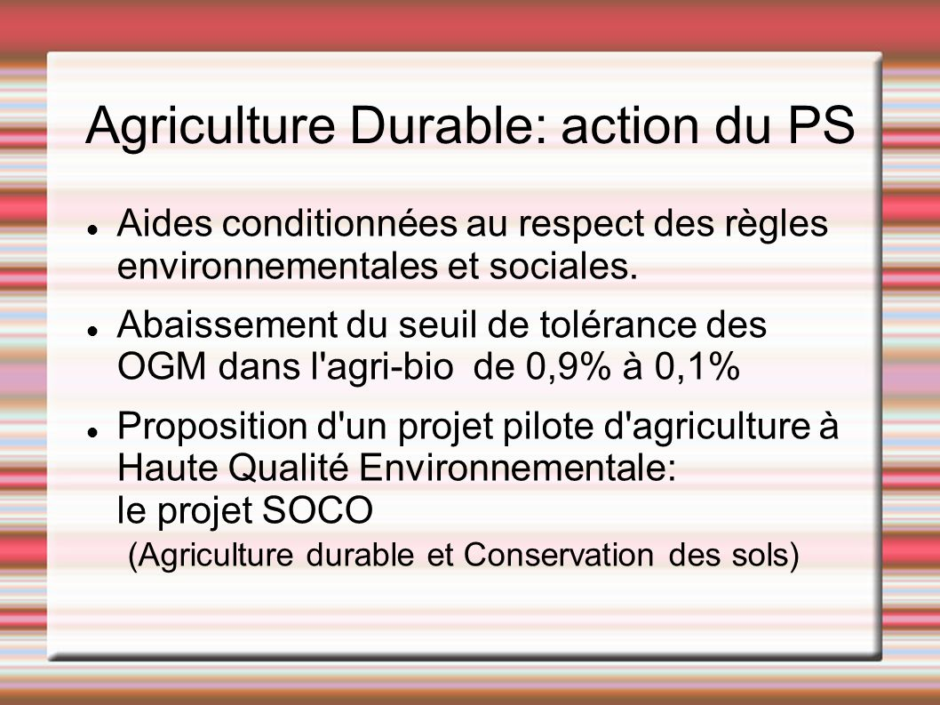 Agriculture Durable: action du PS