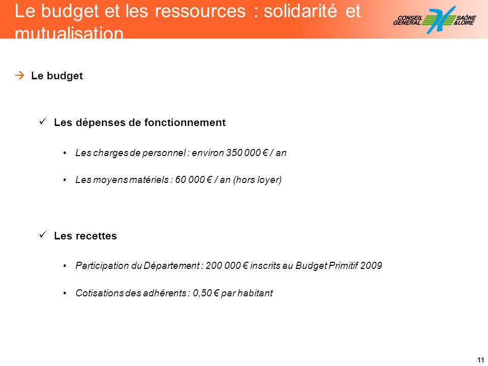 Le budget et les ressources : solidarité et mutualisation