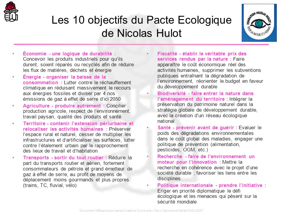 Les 10 objectifs du Pacte Ecologique de Nicolas Hulot