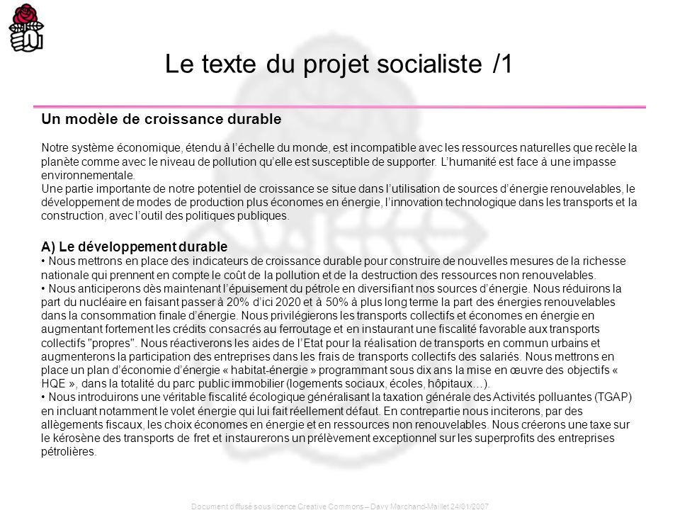 Le texte du projet socialiste /1