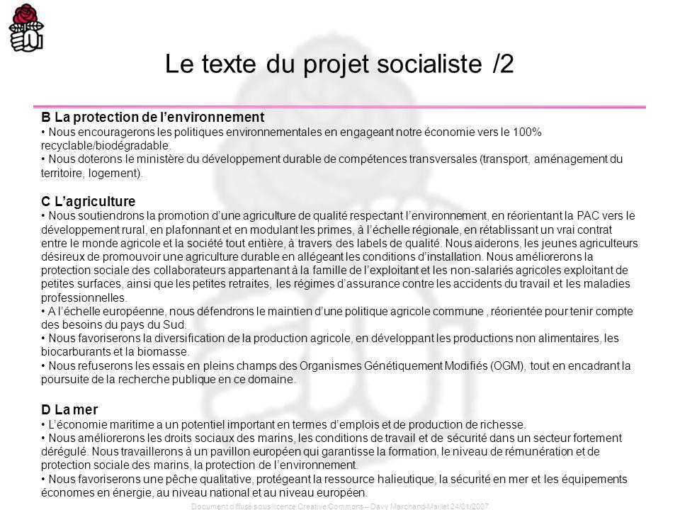 Le texte du projet socialiste /2