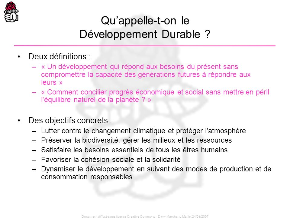 Qu'appelle-t-on le Développement Durable