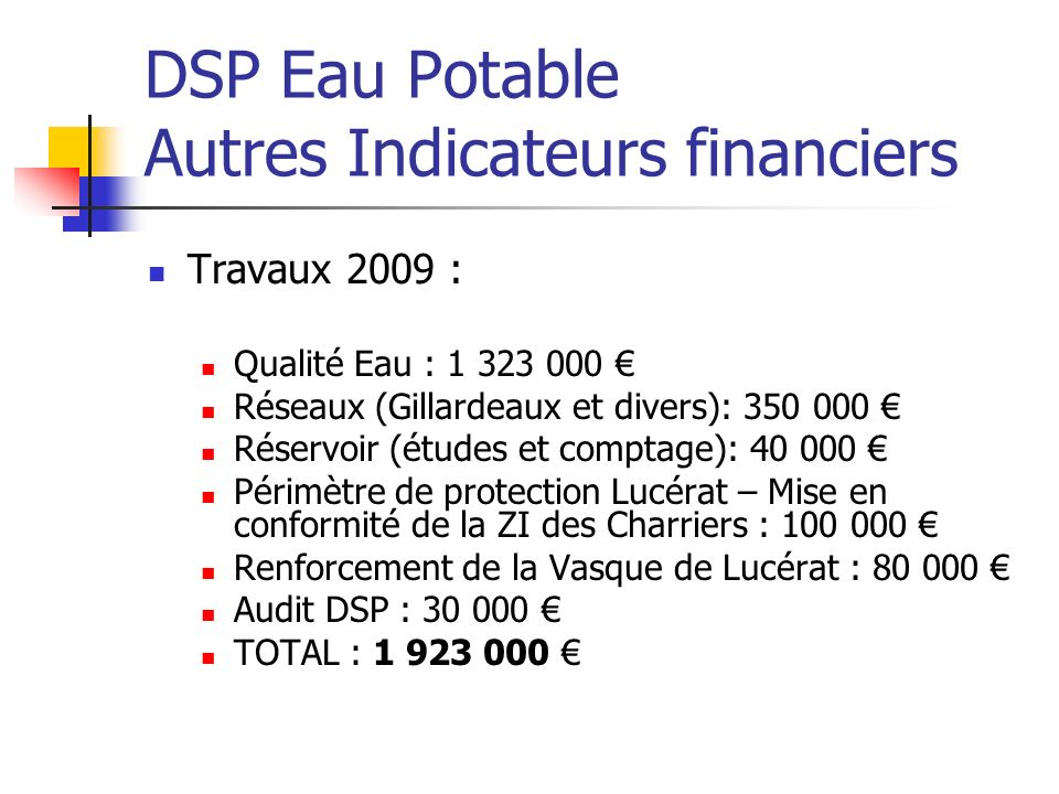 DSP Eau Potable Autres Indicateurs financiers