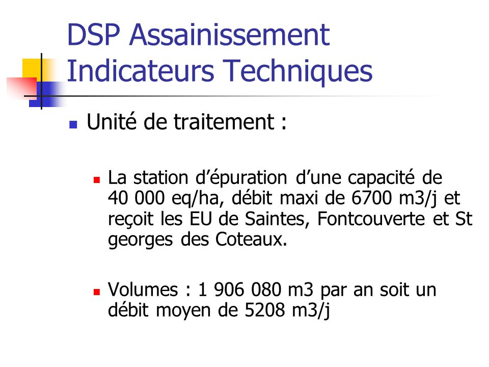 DSP Assainissement Indicateurs Techniques