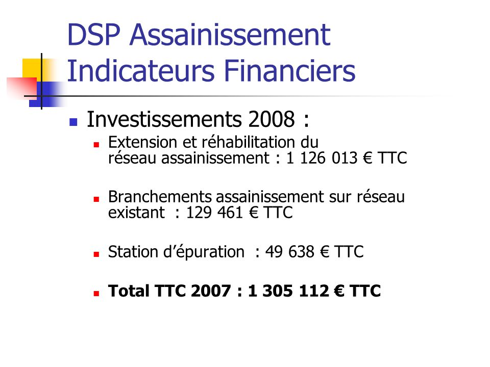 DSP Assainissement Indicateurs Financiers