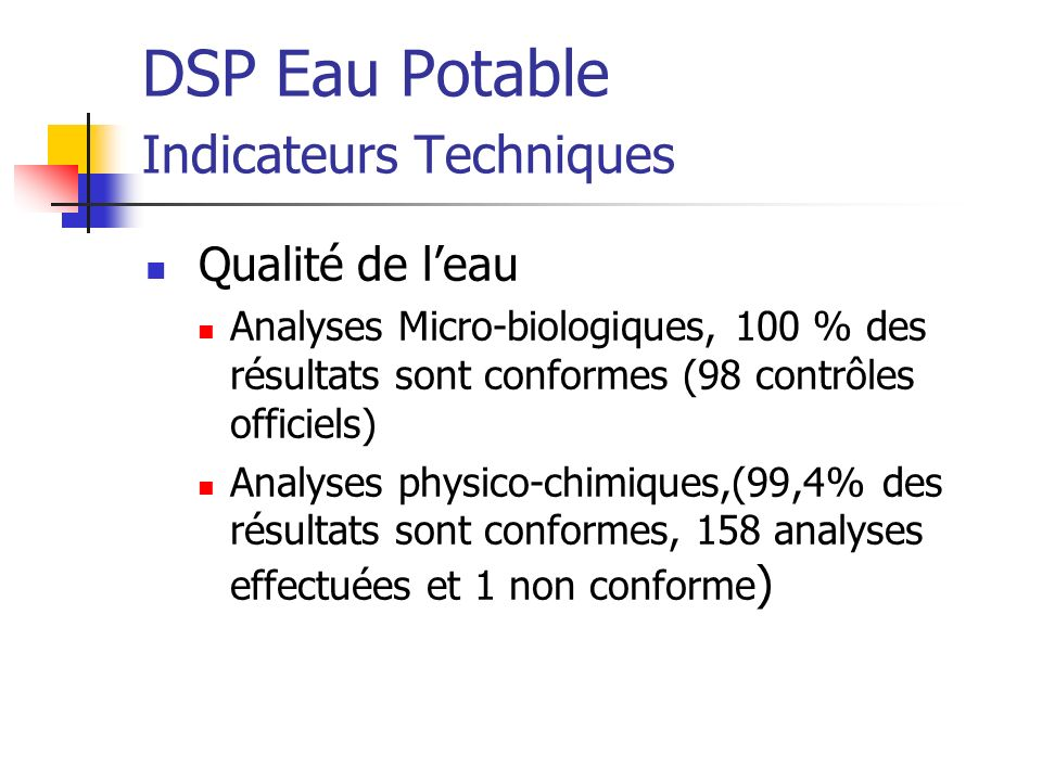 DSP Eau Potable Indicateurs Techniques