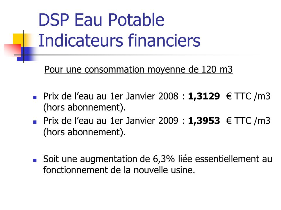 DSP Eau Potable Indicateurs financiers