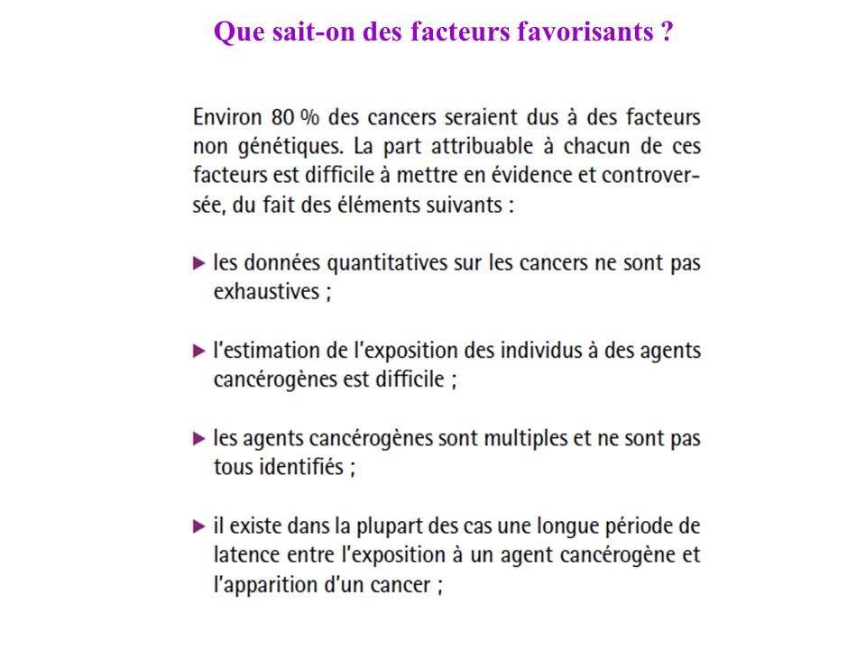 Que sait-on des facteurs favorisants