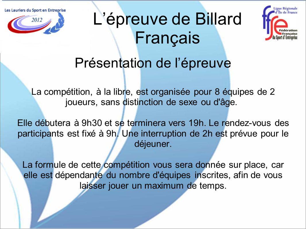 L'épreuve de Billard Français