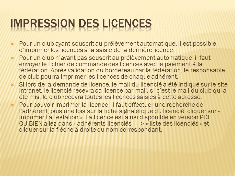 Impression des licences
