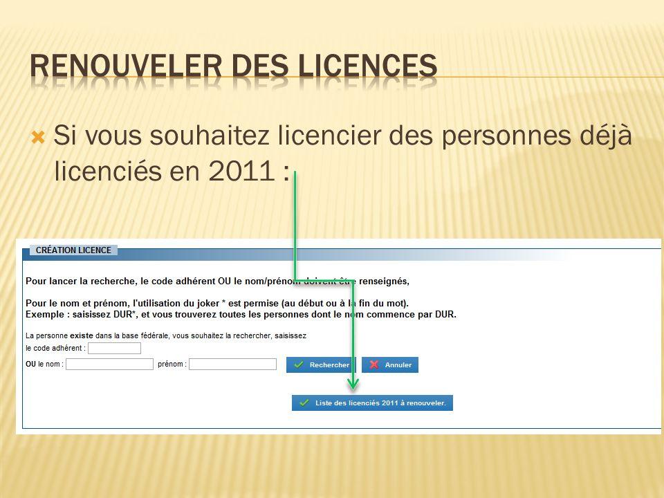 Renouveler des licences