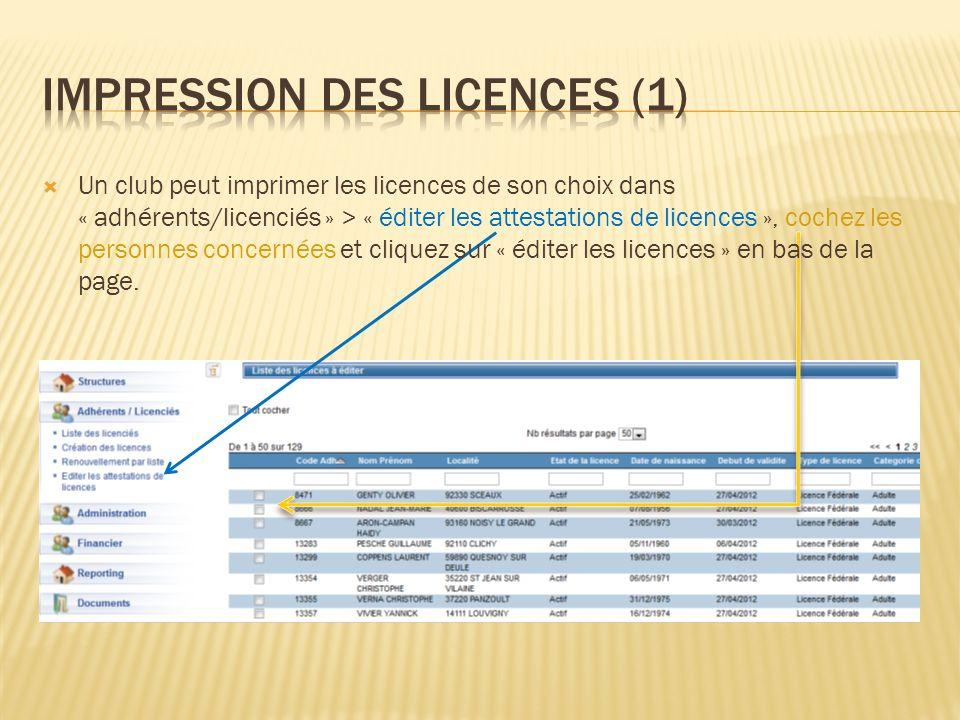 IMPRESSION DES LICENCES (1)