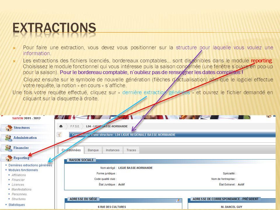 extractions Pour faire une extraction, vous devez vous positionner sur la structure pour laquelle vous voulez une information.