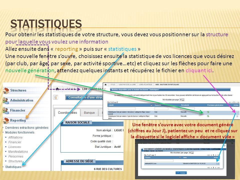 STATISTIQUES Pour obtenir les statistiques de votre structure, vous devez vous positionner sur la structure pour laquelle vous voulez une information.
