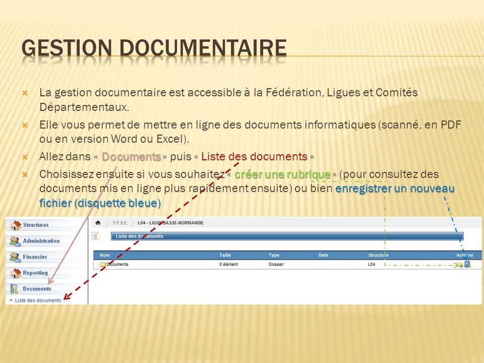Gestion documentaire La gestion documentaire est accessible à la Fédération, Ligues et Comités Départementaux.