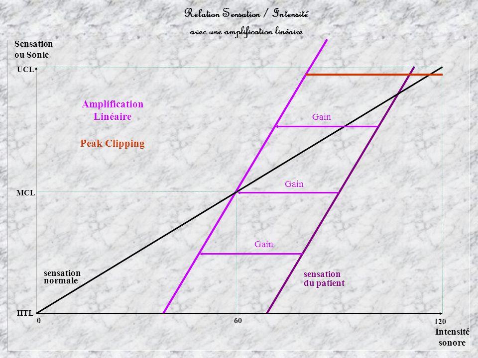 Relation Sensation / Intensité avec une amplification linéaire