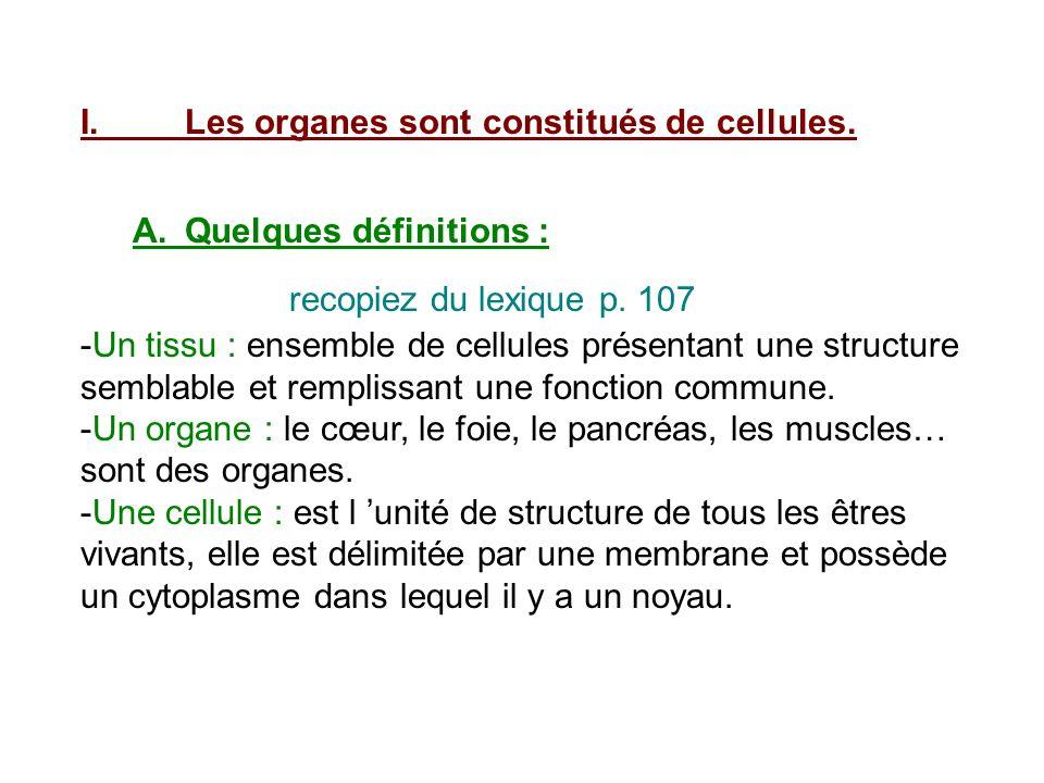 I. Les organes sont constitués de cellules.